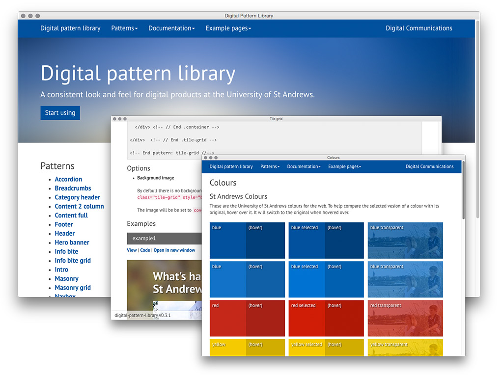 Three layered screenshots of the Digital pattern library showing the homepage, detailed documentation and colours.