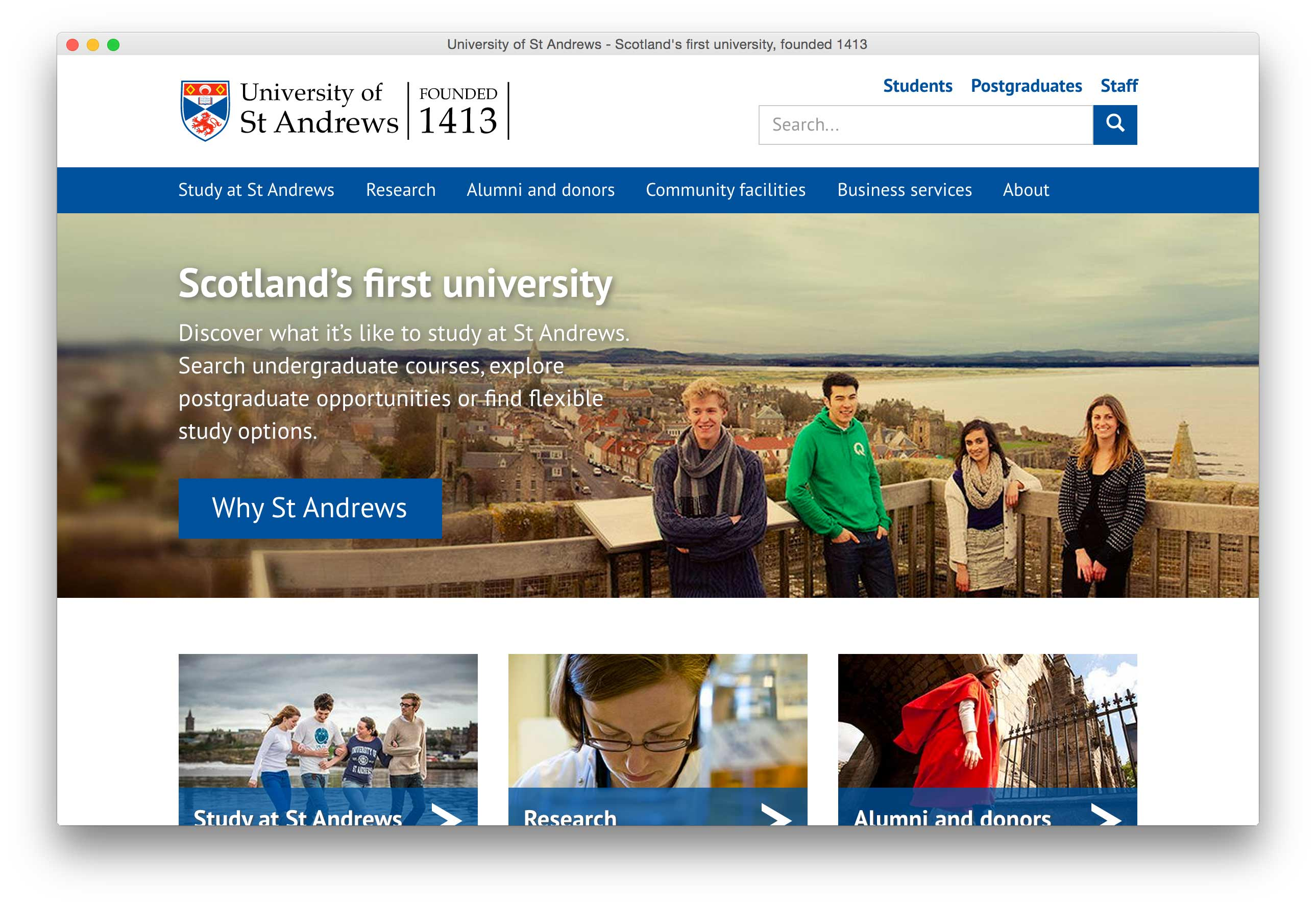 Image of the University of St Andrews home page (desktop).