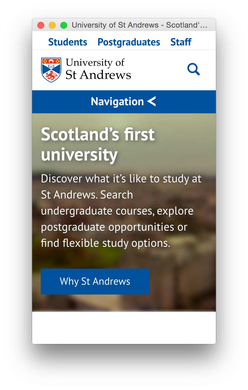 Image of the University of St Andrews home page (mobile).